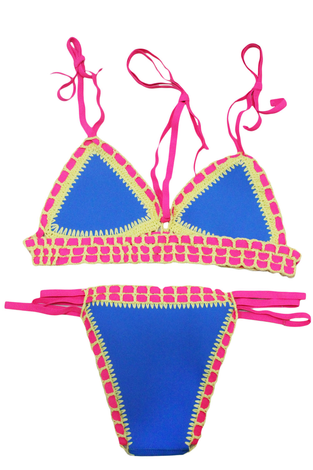 Strappy Halter Crochet Trimmed Blue Neoprene Swimsuit