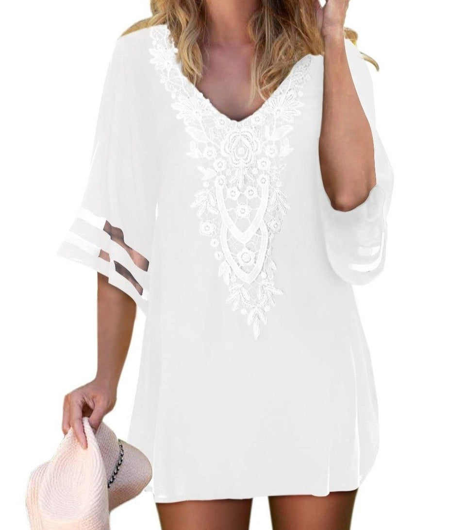 White Crochet Detail Mesh Sleeve Chiffon Beach Cover Up