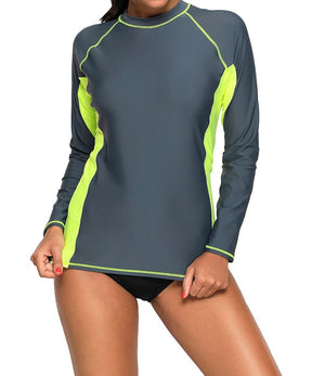 Grey Black Long Sleeve Tankini Swim Top