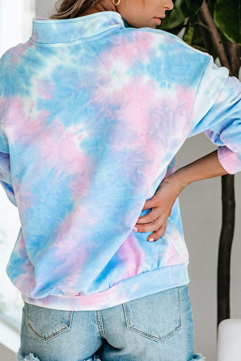 Sky Blue Cotton Tie-dye Mock Neck Zip Sweatshirt