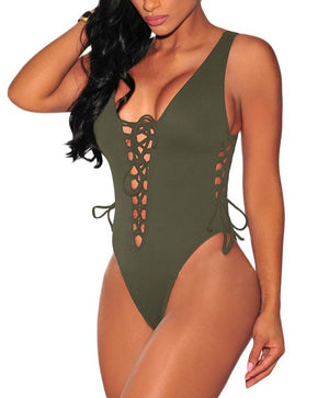 Army Green Lace up High Cut Bodysuit