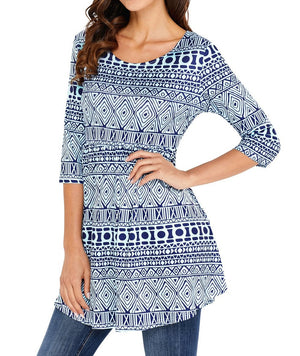 Tribal Geometric Print Blue Elegant Long Top