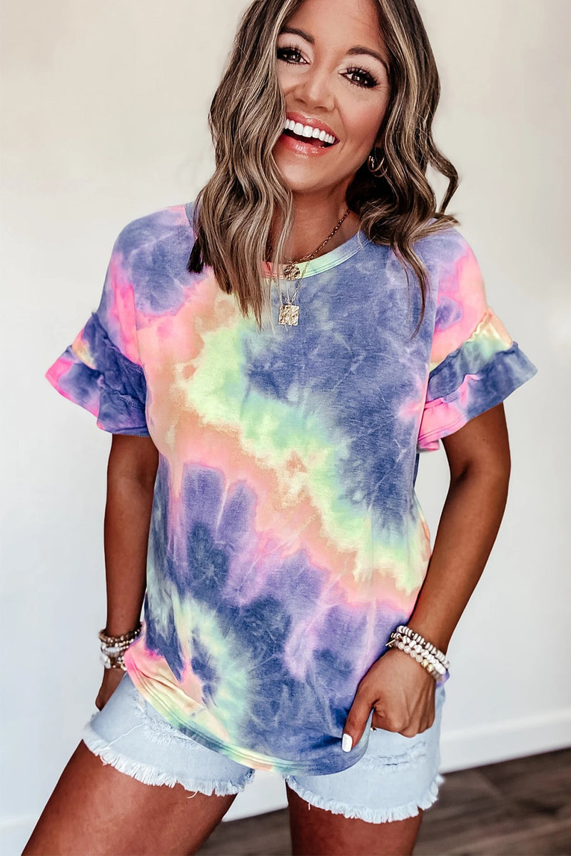 Purple Tie-dye Print Ruffled Short Sleeves T-shirt