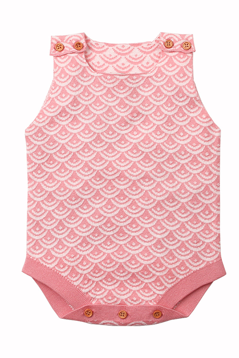 Pink Fish Scale Knit Buttoned Baby Romper