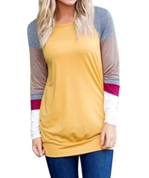Multicolor Long Sleeve Yellow Sweatshirt