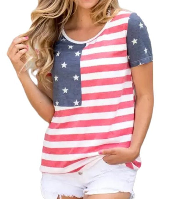 American Flag Stars Summer T-shirt