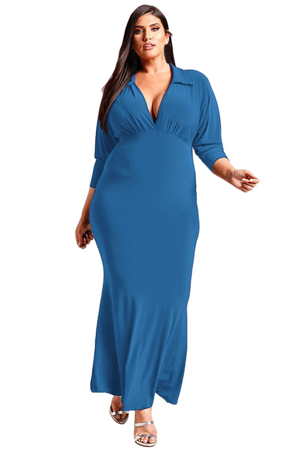 Navy Blue Plus Size Collared Deep V Maxi Dress