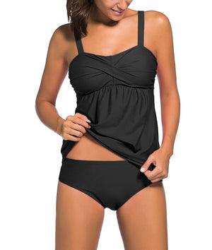 Black 2pcs Swing Tankini Swimsuit