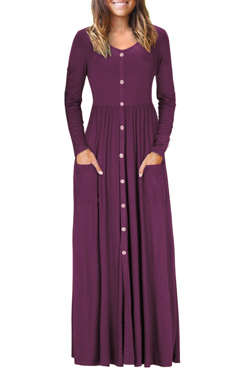 Burgundy Button Front Pocket Style Casual Long Dress