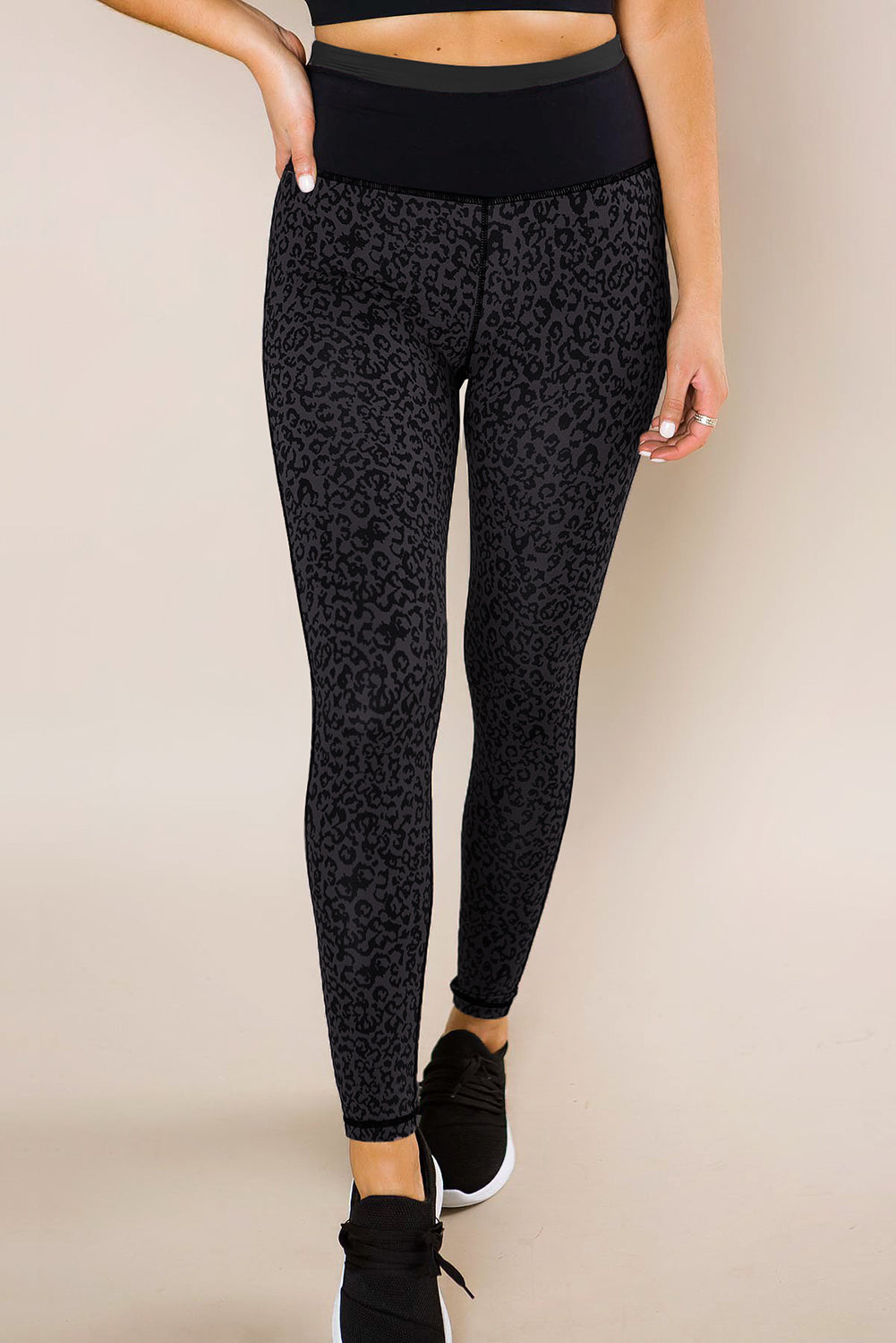 Black Leopard Print Active Leggings