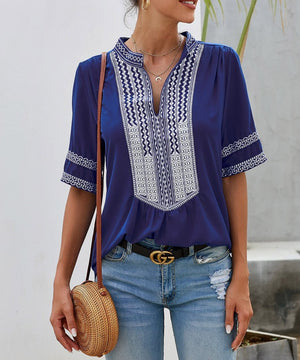 Blue Elbow Length Sleeves Front Embroidery Blouse