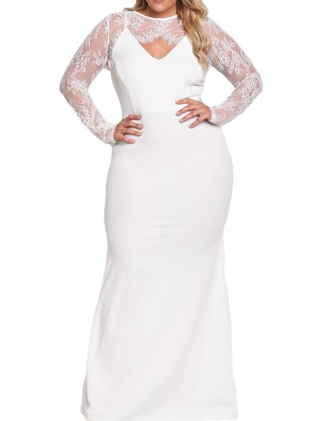 White Plus Size Lace Bolero Mermaid Gown