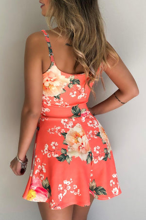 Red Floral Print Spaghetti Straps Playsuit
