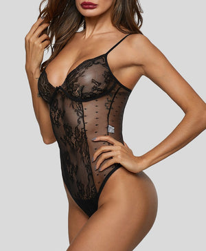 Black Sexy Hollow Out Lace Bodysuit