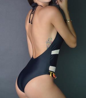 Black Mesh Patchwork One-piece Swimsuit