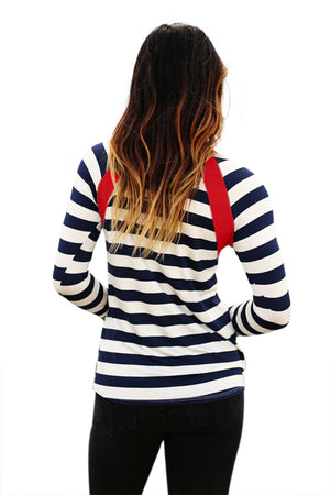Red Splice Accent Navy White Striped Long Sleeve Shirt