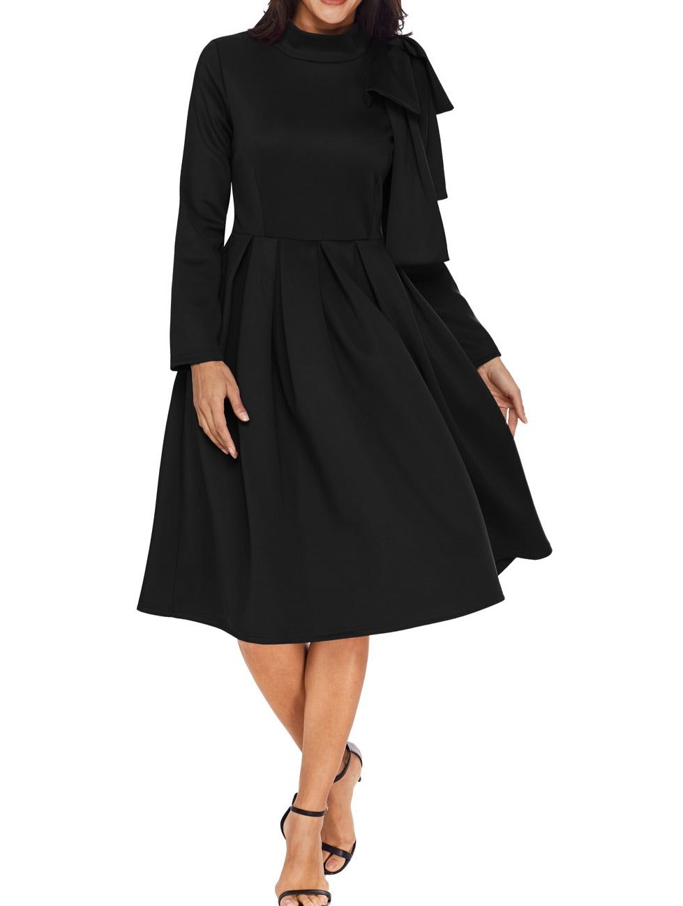 Black Bowknot Embellished Mock Neck Pocket Dress