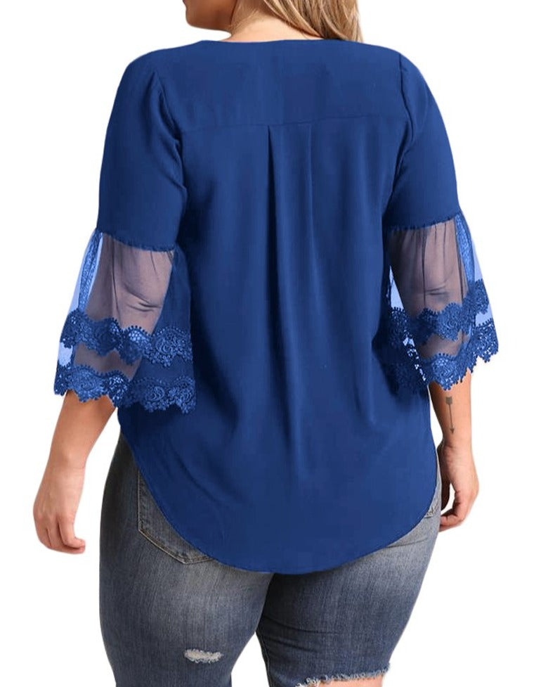 Navy Blue Tulle Embroidered Bell Sleeve Plus Size Blouse