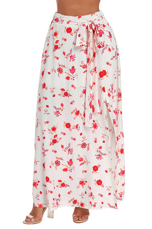 White Floral Front Thigh Slit Maxi Skirt