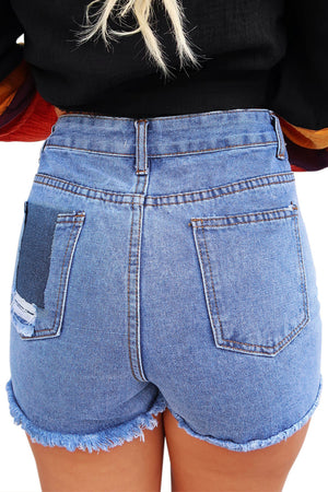 Wash Blue High Waist Destroyed Jean Shorts
