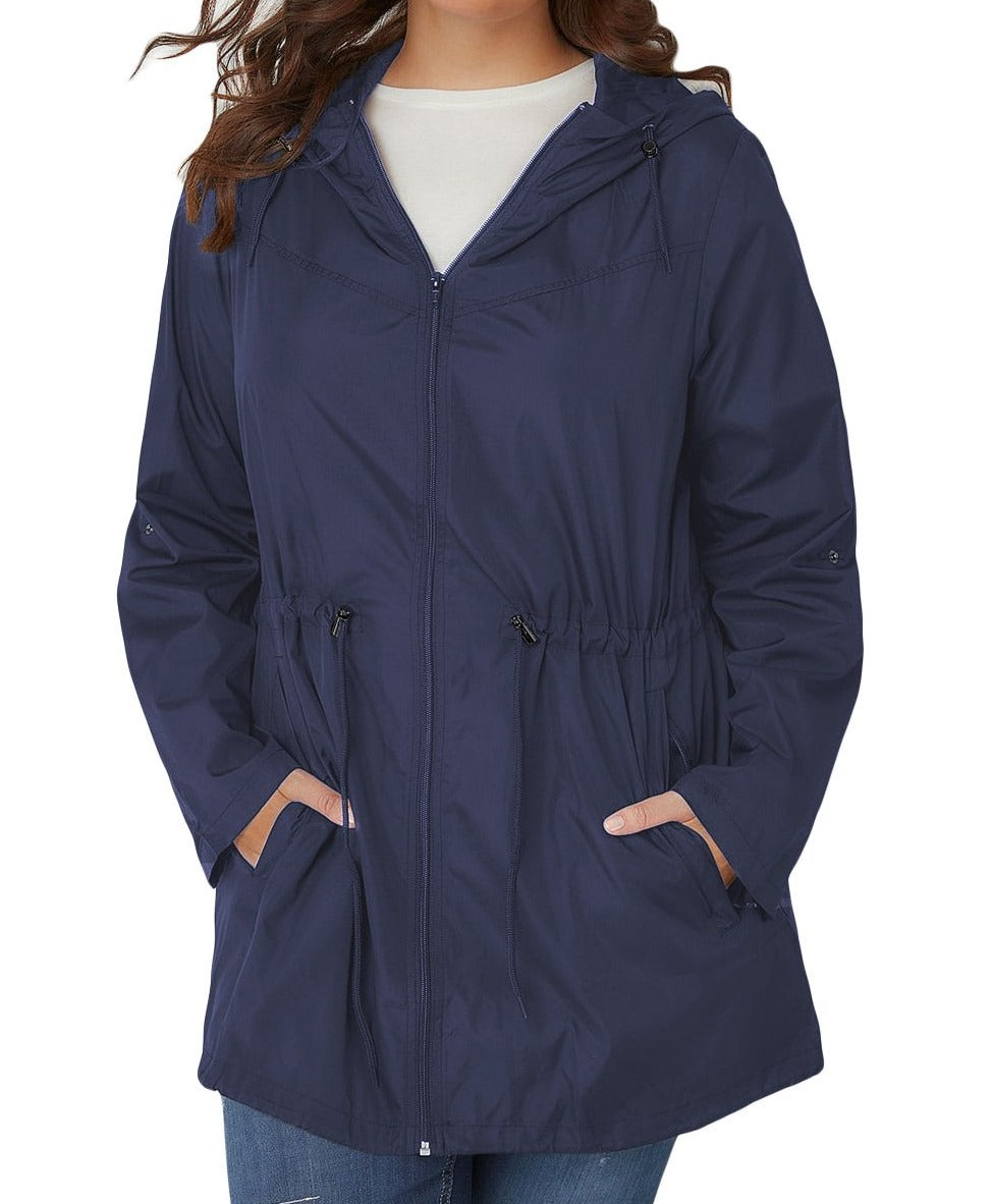 Navy Plus Size Pocket Parka Jacket