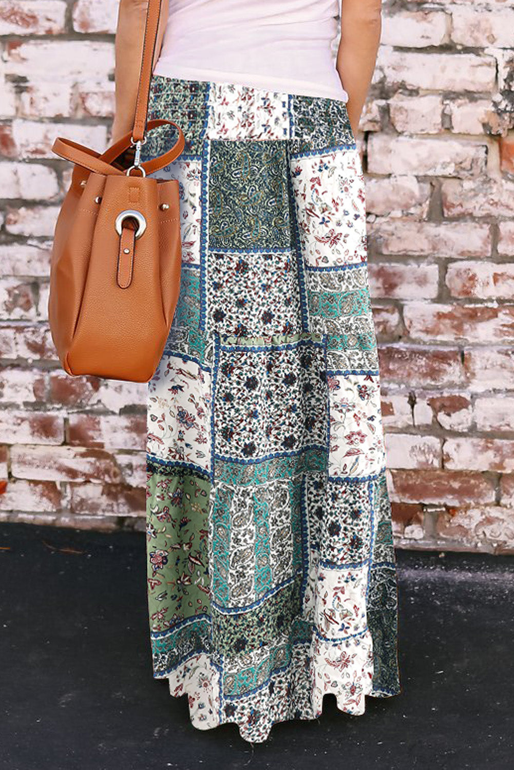 Green Boho Print Tie-Up Waist Long Maxi Skirt
