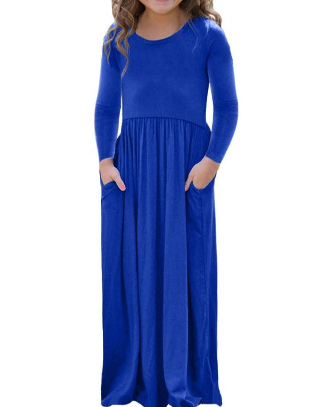 Royal Blue Long Sleeve Pocket Design Girls Maxi Dress