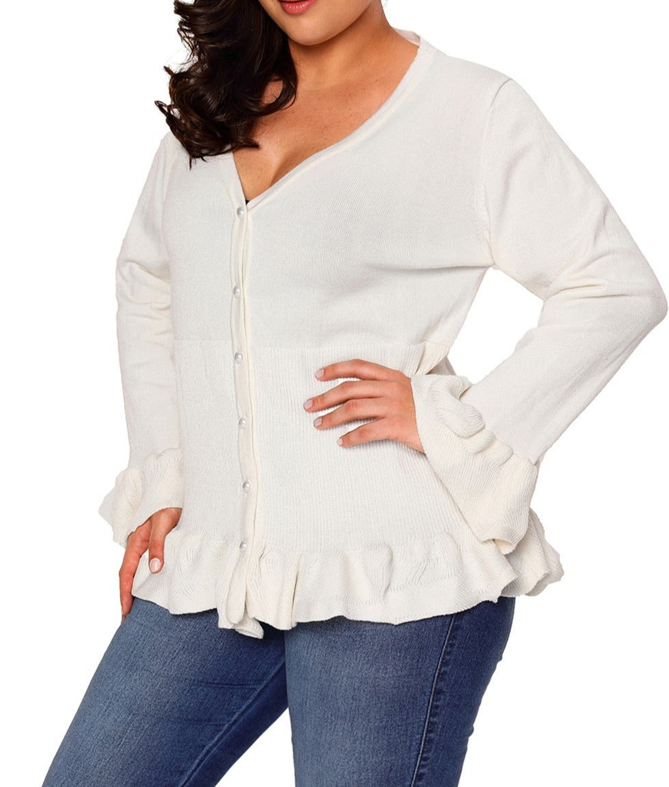 White Ruffle Hem V Neck Plus Size Cardigan