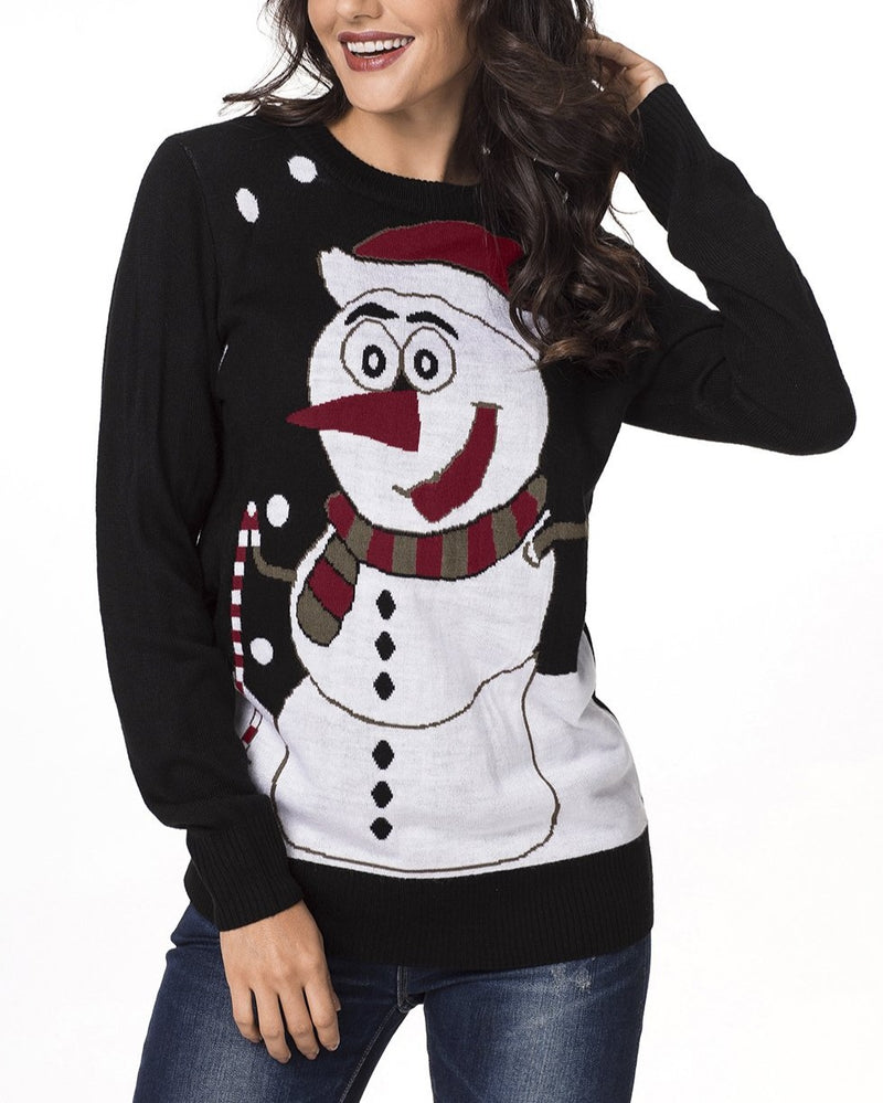 Black Snowman Knit Crew Neck Sweater