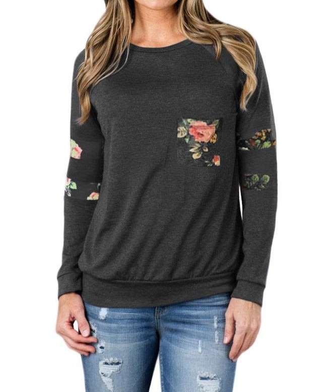 Floral Patch Accent Gray Sweatshirt