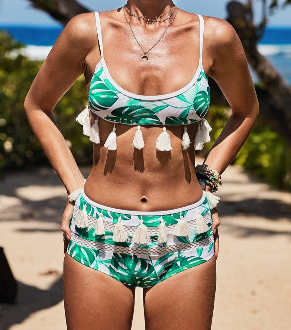 White Tropical Print Tassel High Waist Bikini
