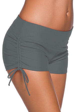 Gray Adjustable Ties Swim Bottom Shorts
