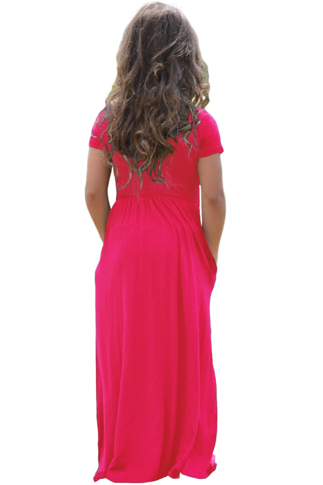 Rosy Short Sleeve Pocket Design Girls Maxi Dress