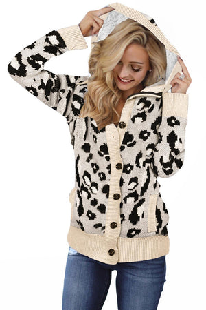 Beige Long Sleeve Button-up Hooded Leopard Print Cardigan