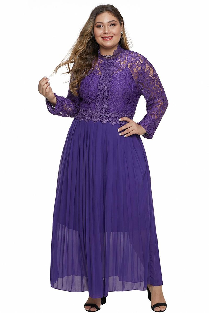 Purple High Neck Long Sleeve Lace Top Plus Size Maxi Dress