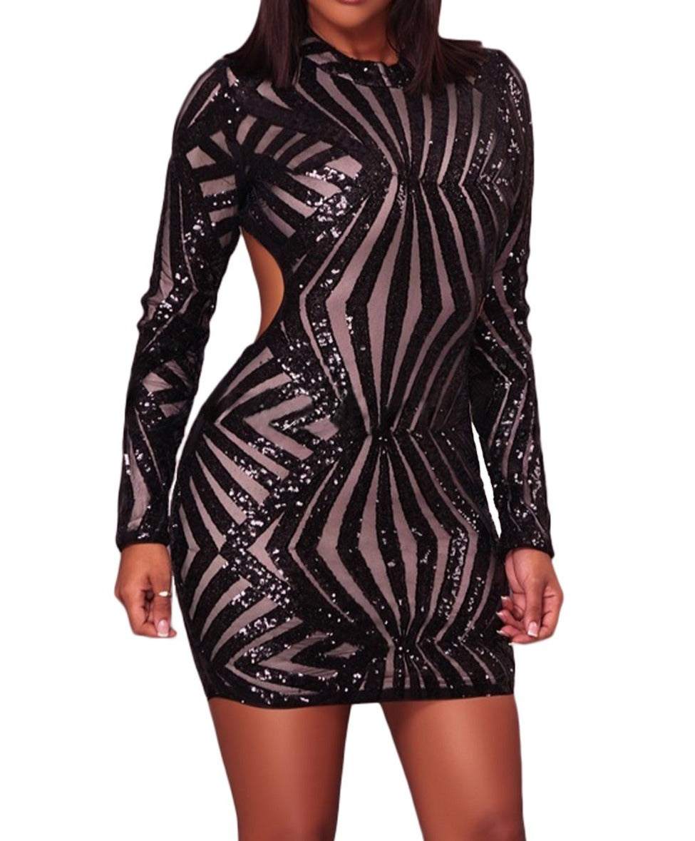 Black Sequin Detail Open Back Party Mini Dress