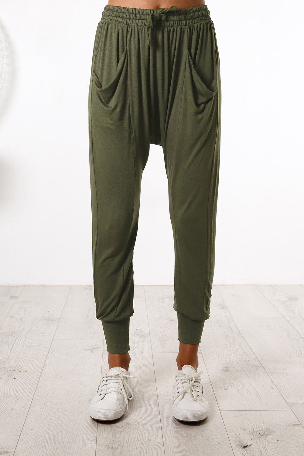 Green Casual Drop Crotch Tapered Leg Pants