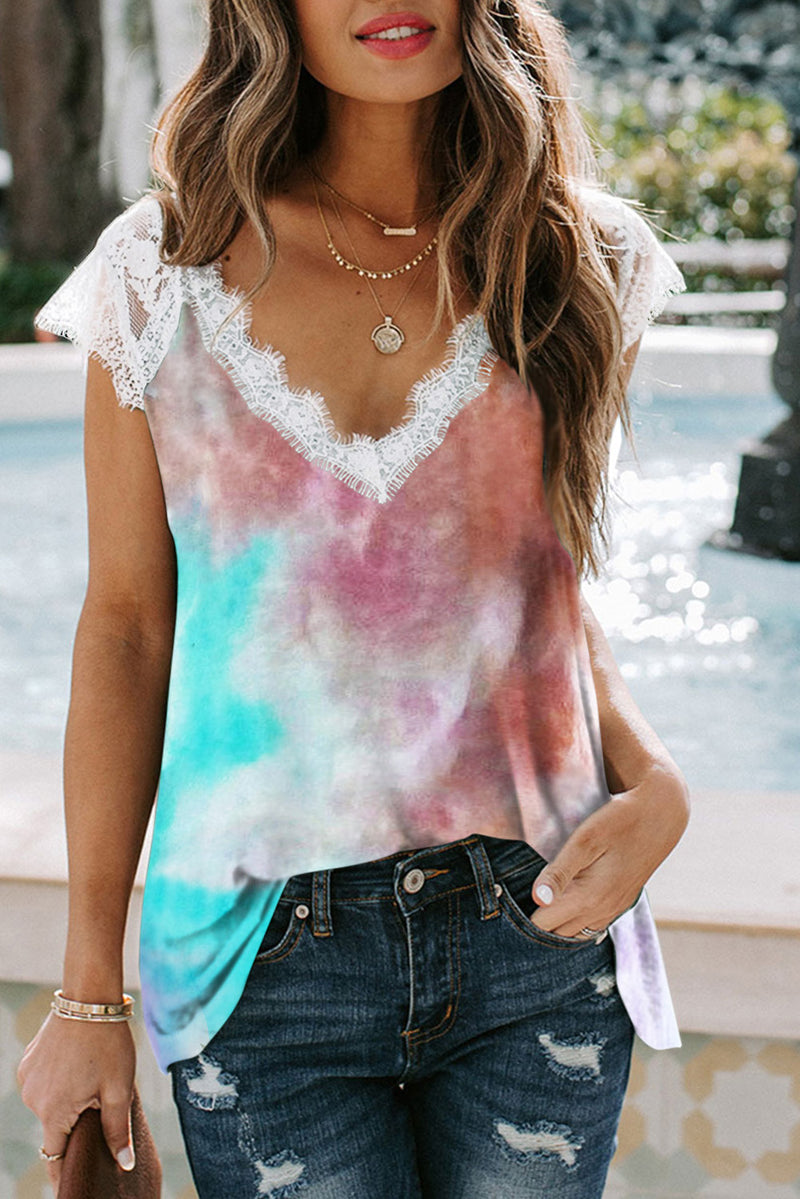 Multicolor Lace Splicing V Neck Short Sleeve Tie-dye Top