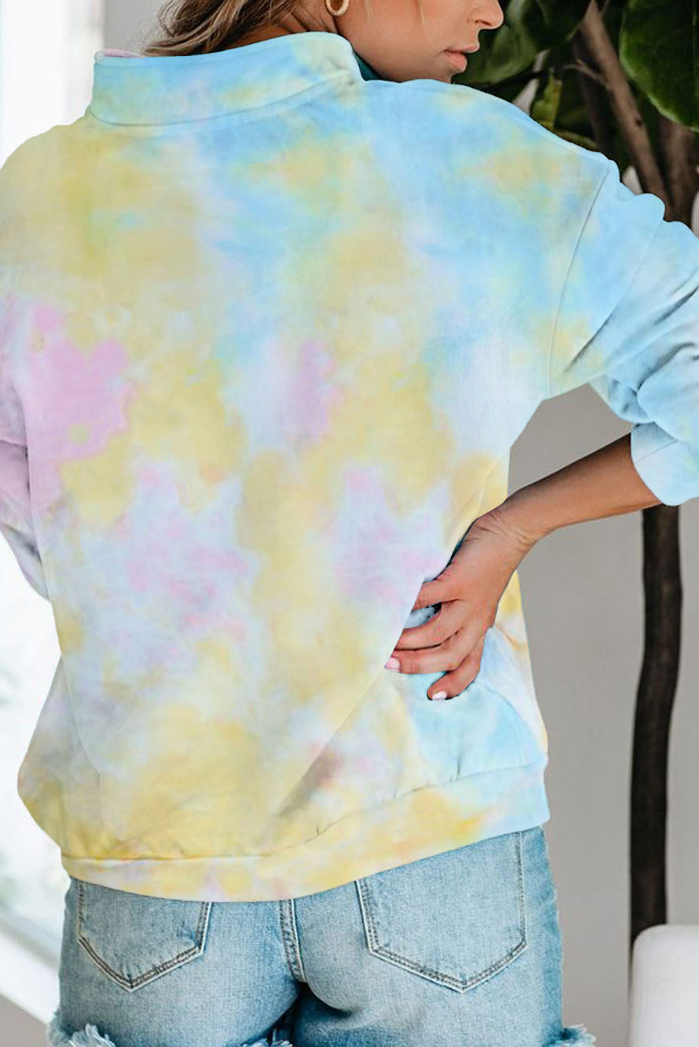 Multicolor Cotton Tie-dye Mock Neck Zip Sweatshirt