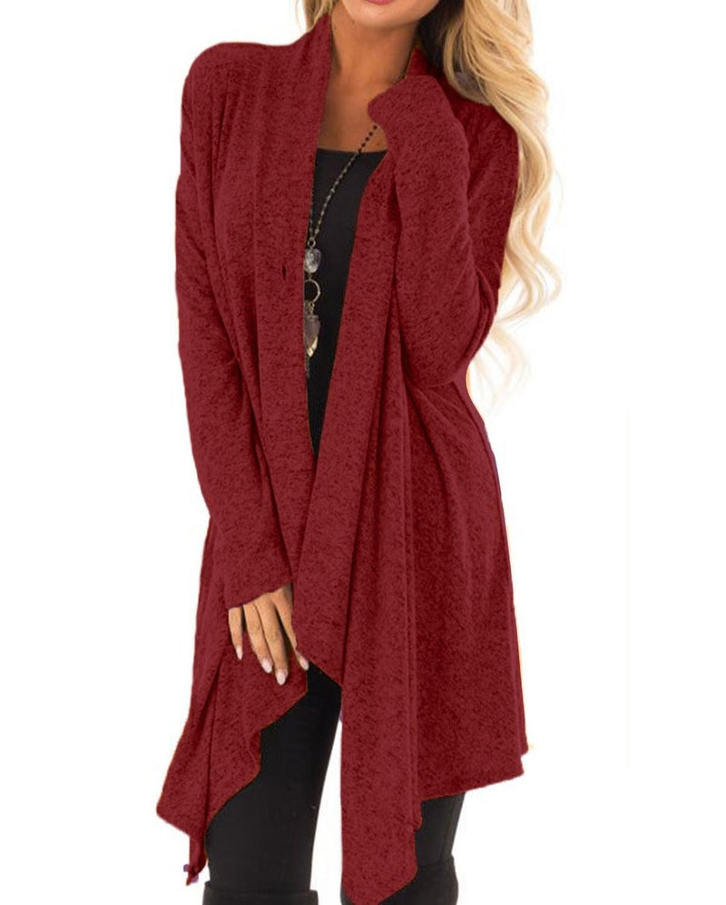 Burgundy Draped Open Front Asymmetrical Cardigan
