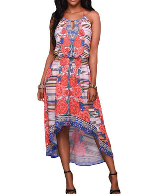 Multi-color Print Halter High-low Dress