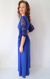 Blue Floral Lace Half Sleeve Wrap V Neck Party Long Maxi Dress