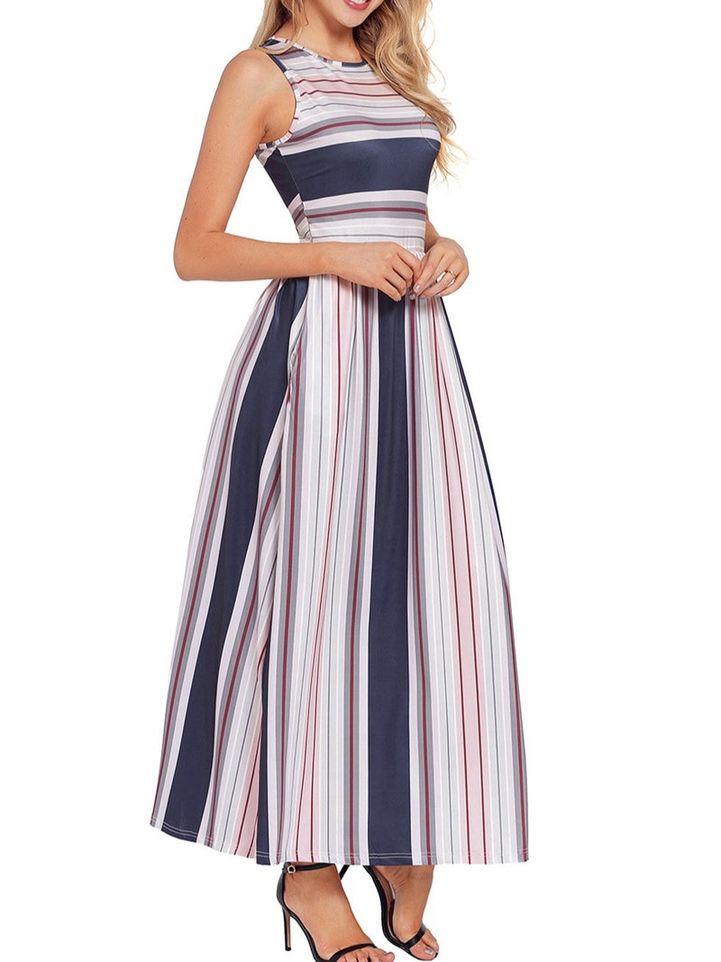 Navy Red Multi Striped Pocket Style Maxi Tank Dress