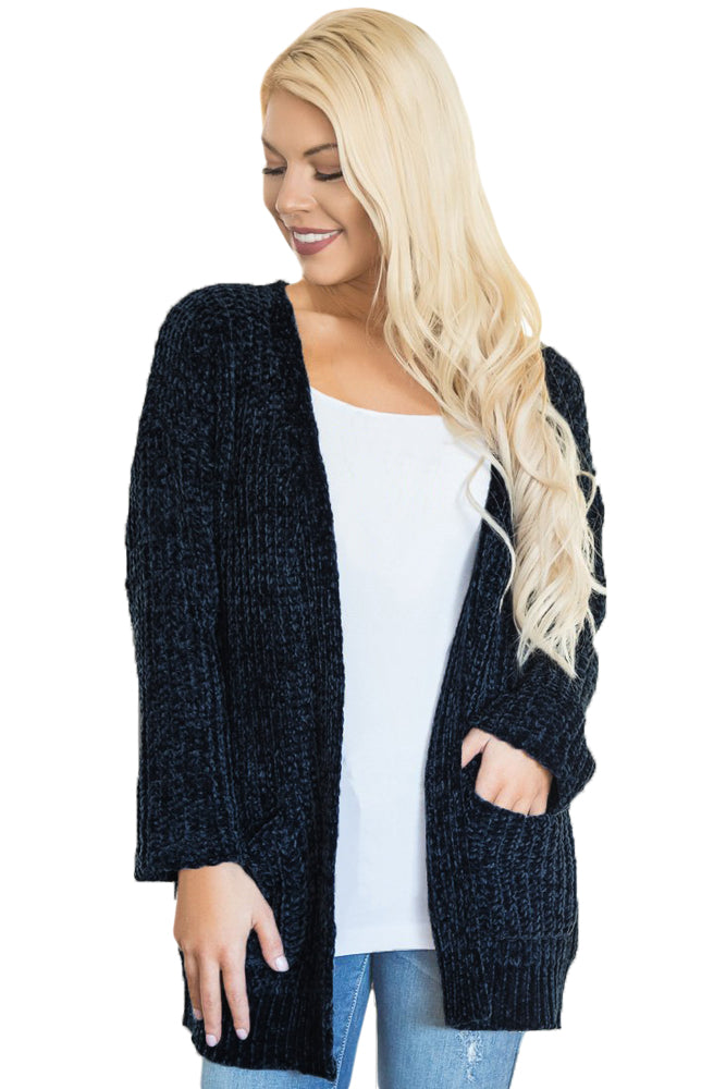 Navy Long Sleeved Sweater Cardigan with Pockets
