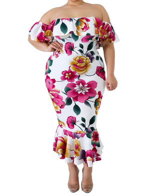 White Off-the-shoulder Floral Mermaid Plus Size Dress