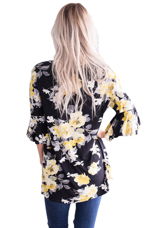Mid Length Bell Sleeve Black Yellow Floral Blouse