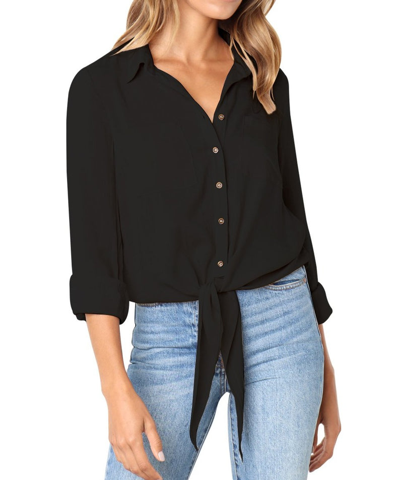 Black Crushed Linen Button-Down Casual Shirt