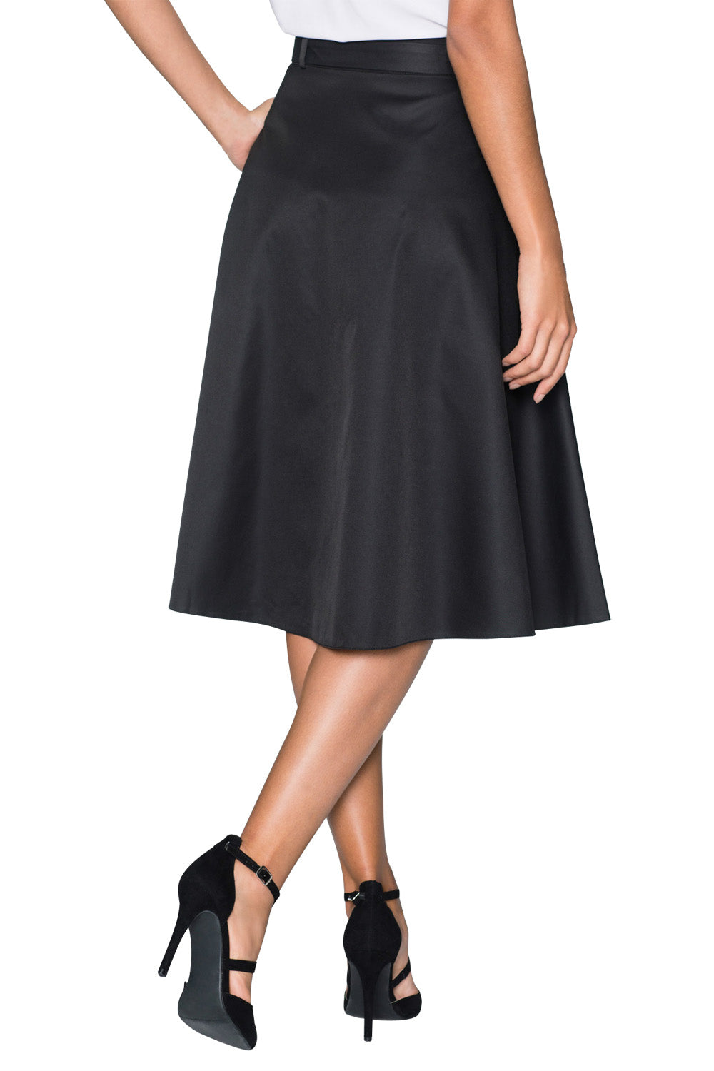 Elegant Retro Style Buttons Front Flared Midi Skirt in Black