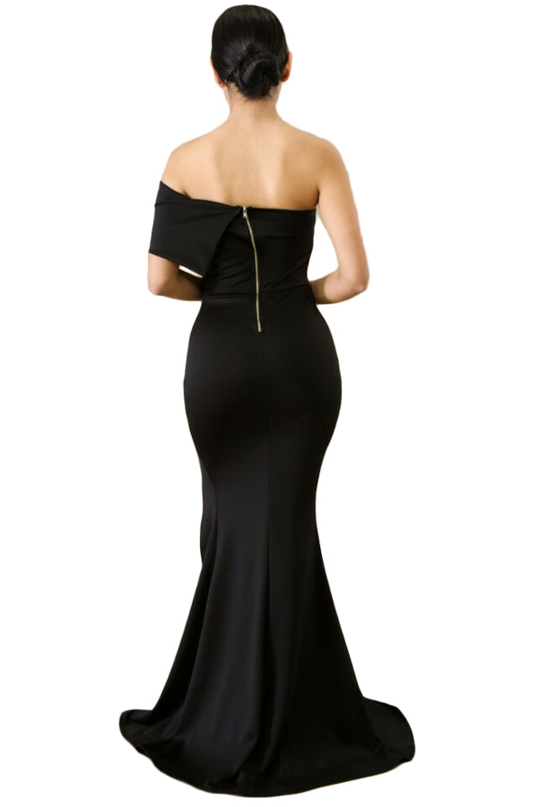 Black Off The Shoulder One Sleeve Slit Maxi Party Prom Dress
