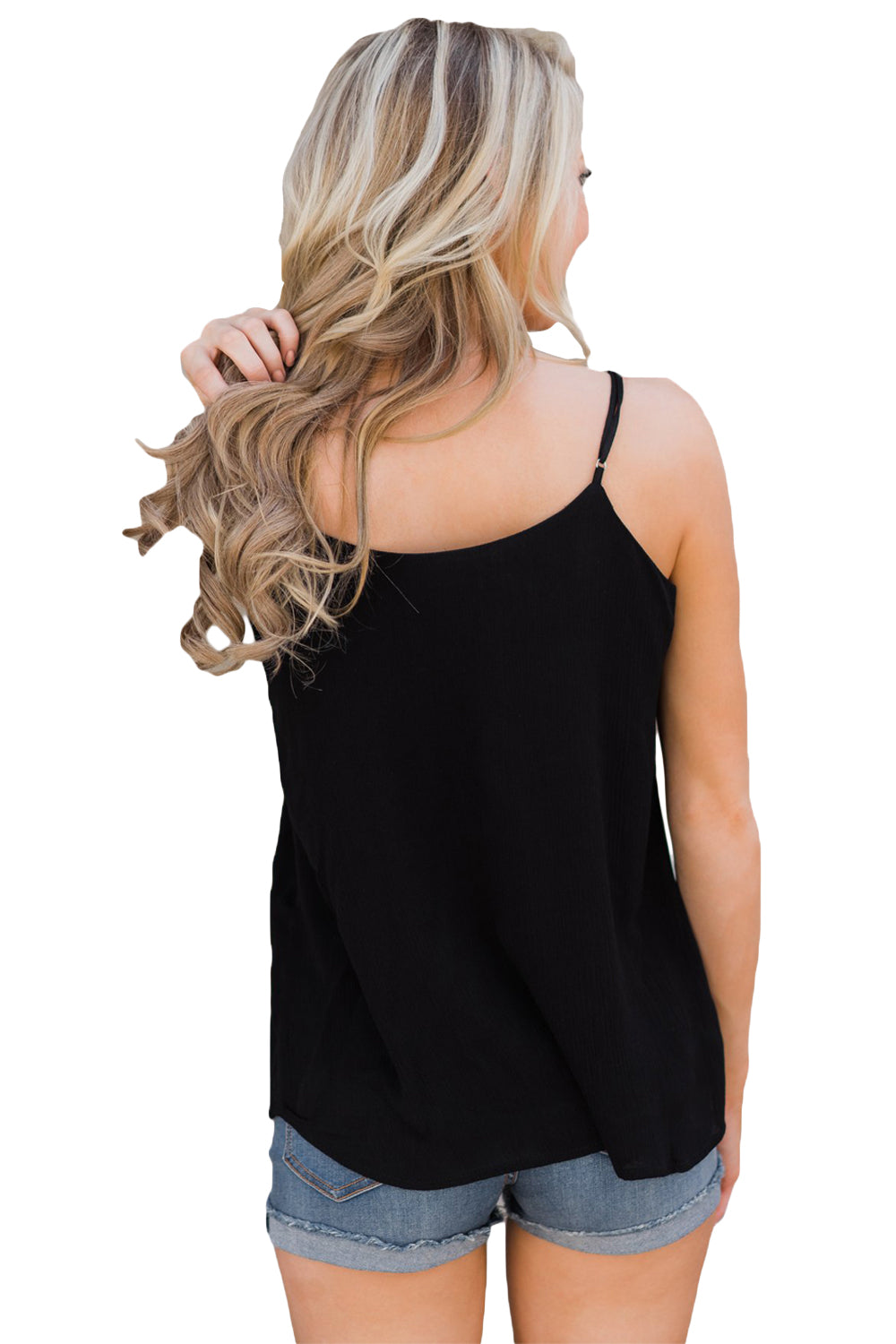 Black Button Down V Neck Camisole Vest Top